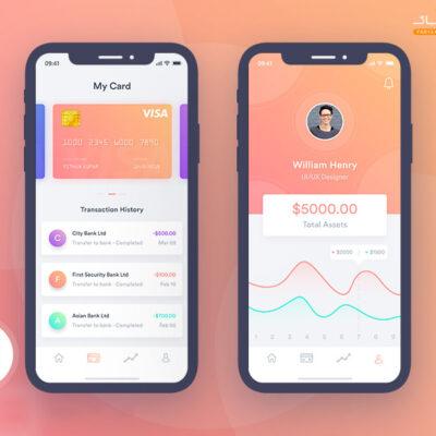 طرح رابط کاربری برنامه موبایل مالی