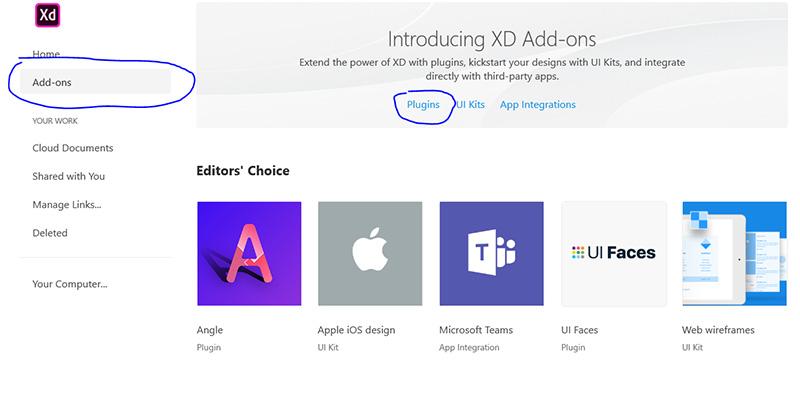 چطور افزونه ها را در adobe xd  نصب کنیم؟